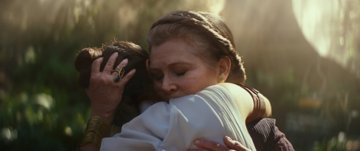 Carrie Fisher e Daisy Ridley em Star Wars: The Rise of Skywalker
