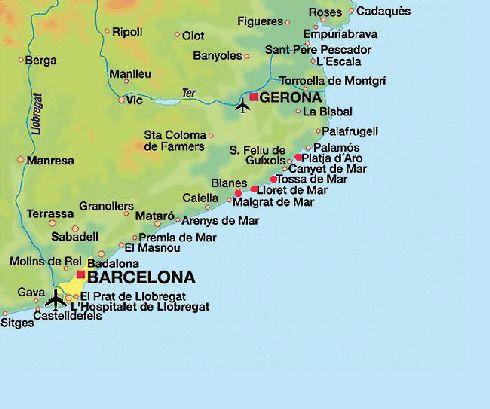 Karta Over Barcelona Pa Ryska Detaljerad Barcelona Pa Kartan Over