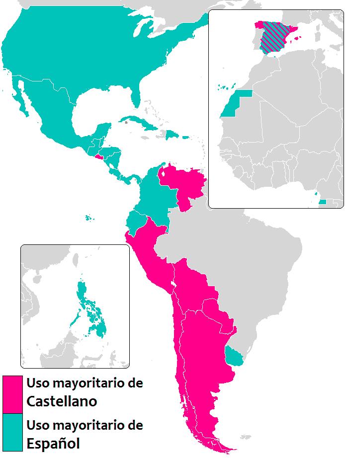 mapa espanhol ou castelhano