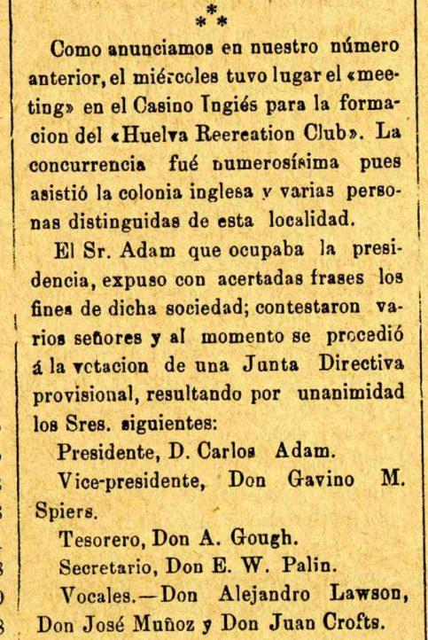 Fundação do primeiro clube de futebol da Espanha, o Huelva Recreation Club