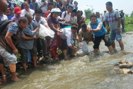 GPA y socios liberaron peces dentro del Rio Baghmati al comienzo de la Semana Mundial del Medio Ambiente en Nepal