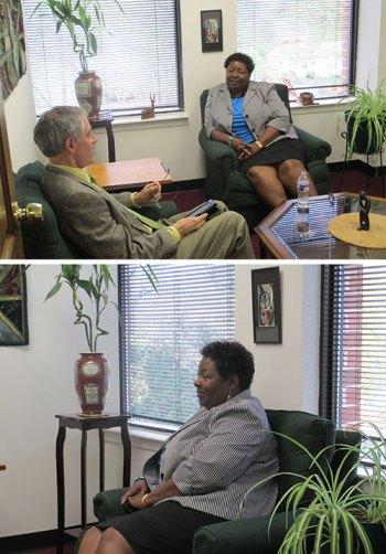 (Arriba) Eric Olsen entrevistando la consejera de GPF-USA. (Abajo) La Sra. Diann Dawson durante la entrevista