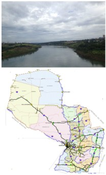 Arriba: Una vista del Rio Paraguay.   Abajo: Un mapa de vias de transporte de Paraguay. Alto Paraguay esta notablemente sin desarrollar.