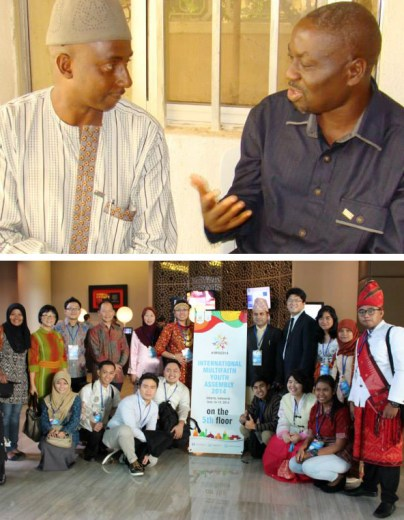 Arriba: Líderes Musulmanes y Cristianos discuten los desafíos de la cooperación interreligiosa en el  Sur de Estado de Kaduna. Abajo: Líderes jóvenes de la región ASEAN se reunieron en Yakarta para una Asamblea Interconfesional de Jóvenes.