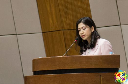 Soonok Kang, Secretaria General del Área Mujer de la Fundación Paz Global Internacional pronunció el mensaje de la Dra. Jun Sook Moon, Presidenta del Área Mujer de la Fundación Paz Global