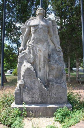 La estatua de la libertad de conciencia en el sitio de la colonia original de Maryland. Crédito de foto: Elvert Barnes