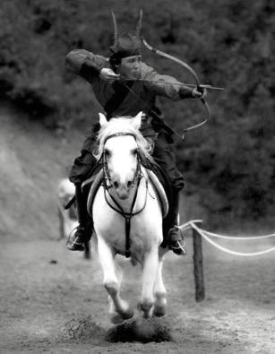 Guerrero Hwarang sobre un caballo blanco