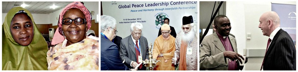 Izquierda a Derecha: Mujeres líderes de fe en Nigeria durante el taller en el Estado de Kaduna; Conferencia de Liderazgo Paz Global en India; Conferencia Intracomunitaria de Interacción en Belfast, Irlanda.