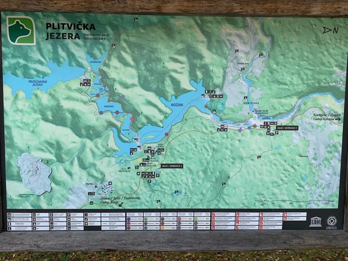 Mapa Lagos Plitvice. que ver en Plitvice
