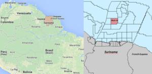 Mapa con la ubicación del pozo 53 en Surinam