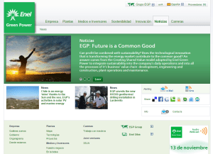 Captura de pantalla de la web de Enel Green Power.