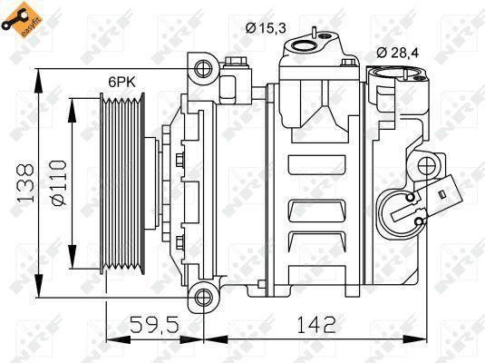 Compresor de Aire Acondicionado de AUDI A1-A3-A4-A6-Ibiza-Leon-Toledo-Altea-VOLKSWAGEN Golf-SKODA Octavia-Fabia-Passat-Jetta-Polo-Touran-Eos-Q3-beetle=DENSO 7SEU16C-7SEU17C