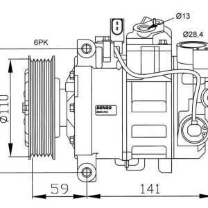 Compresor de Aire Acondicionado de AUDI A4-A6=DENSO 6SEU12C