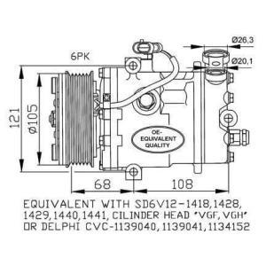 Compresor de Aire Acondicionado de OPEL Astra G-Corsa C-D-Meriva-Zafira-Combo