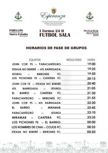 Calendario de I Torneo 24 horas de fútbol sala en Andújar