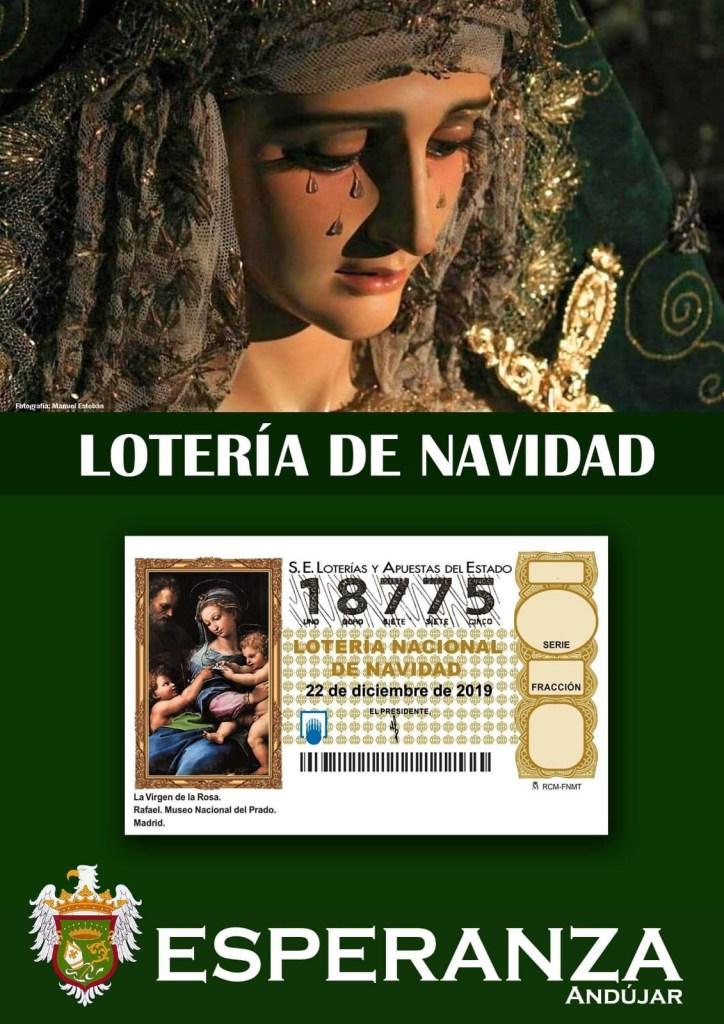 Sorteo extraordinario de lotería de navidad del año 2019. Número jugado 18.775