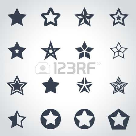 #46491660 — Vector black stars icon set on grey background