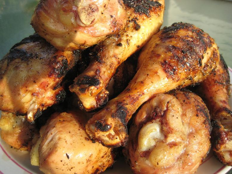 Grilled Chicken Drumsticks, Eggplant, Pineapple and Shrimp (2/4)