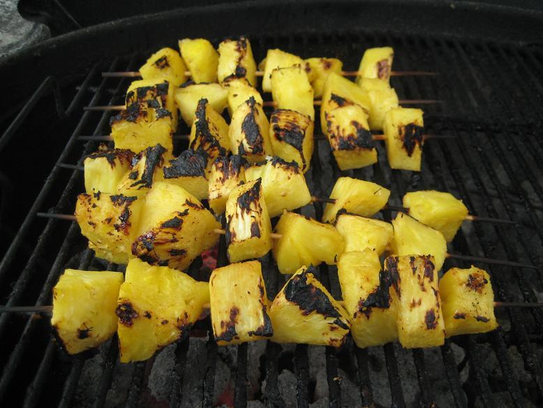 Grilled Chicken Drumsticks, Eggplant, Pineapple and Shrimp (4/4)