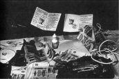CIA agent Aleksandr Ogorodnik's cache of espionage equipment, including poisons, cameras, secret writing, and cash.