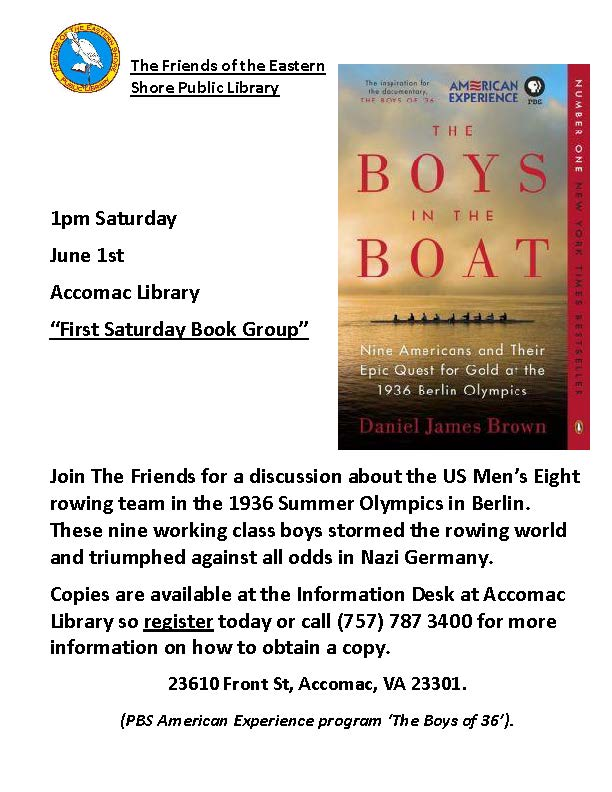 The book group will discuss The Boys in the boat.