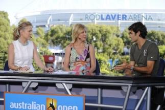 Chris McKendry, Chris Evert and Roger Federer - Australian Open - January 23, 2012