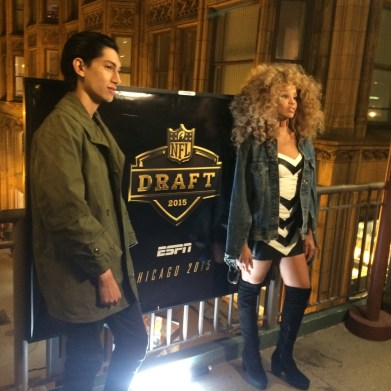 LION BABE's Lucas Goodman and Jillian Hervey participate in a shoot in Chicago for ESPN's NFL Draft coverage (Credit: ESPN/Lucas Nickerson)