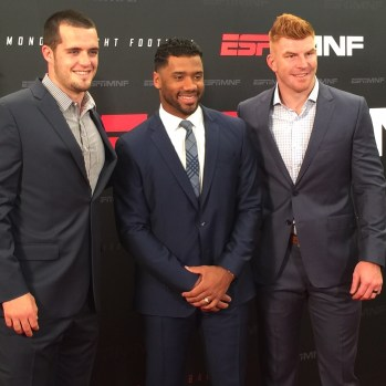 Derek Carr (Oakland Raiders), Russell Wilson (Seattle Seahawks) and Andy Dalton (Cincinnati Bengals) at ESPN's MNF open shoot in July 2016 (credit: Chantre Camack/ESPN)
