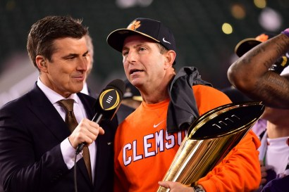 Tampa, FL - January 10, 2017 - Raymond James Stadium: Rece Davis and Coach Dabo Swinney of the Clemson University Tigers during the 2017 CFP National Championship Game Presented by AT&T (Photo by Phil Ellsworth / ESPN Images)