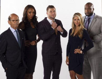 Charlotte, NC - July 21, 2016 - Studio C: Portrait of Paul Finebaum, Maria Taylor, Tim Tebow, Laura Rutledge and Marcus Spears during a 2016 SEC Nation Campaign (Photo by Travis Bell / ESPN Images)