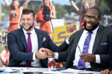 Auburn, AL - September 24, 2016 - Auburn University: Tim Tebow and Marcus Spears on the set of SEC Nation (Photo by Kenny Moss / ESPN Images)