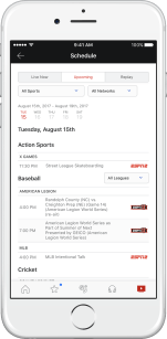 Browse Live, Upcoming and Replay events and search by Date, Sport or Network.