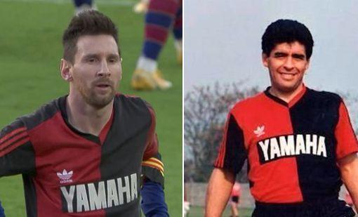 Messi e Maradona com a camisa do Newll's Old Boys.