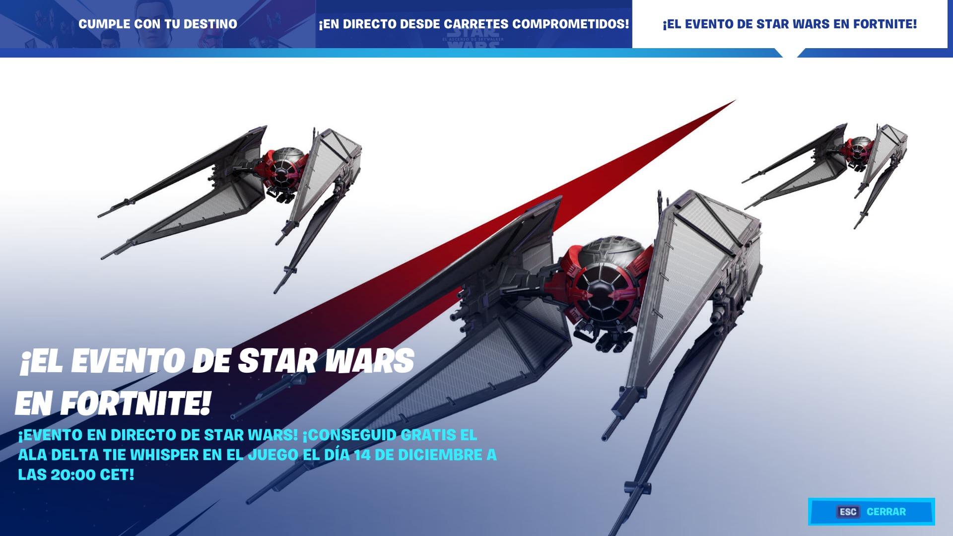 Cómo conseguir el Ala Delta Tie Whisper en el evento de Star Wars de Fortnite