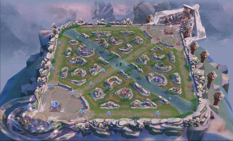 Mappa di un videogioco per esports di tipo MOBA