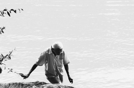 This is the moment when this old Vietnamese man crossed the subtle line between the Saigon river and the ground, holding himself on a very fail branch. Ho Chi Minh city (2014)