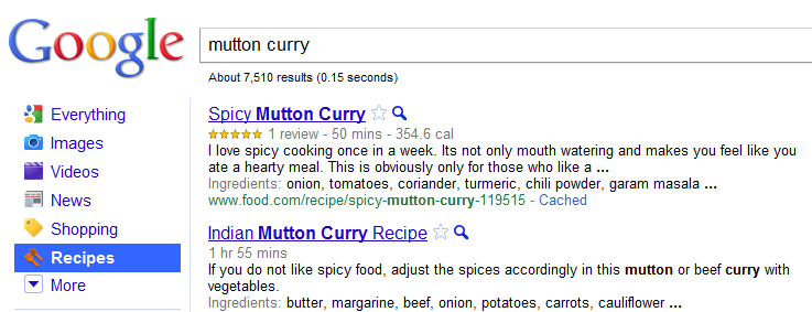 Search Recipe on Google in a New way