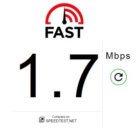 Chrome Speed Test Result