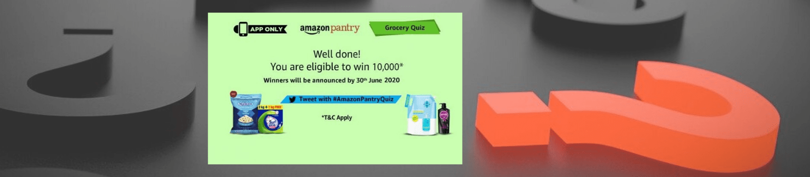 Amazon Grocery Quiz Answer & win Rs. 10000 pay balance