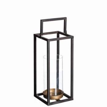 lanterne métal noir/or