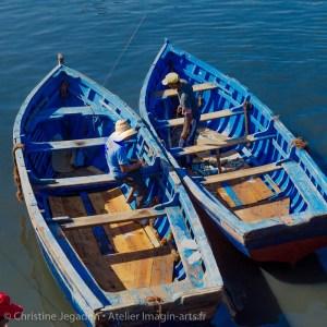 photographie Christine Jegaden deux bateaux bleus