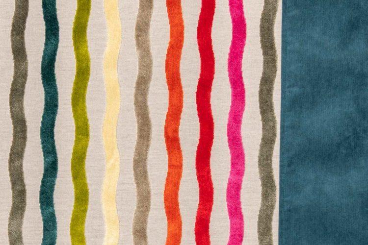 Plaid coloré Lin et velours couleurs Celtiques-Détail.