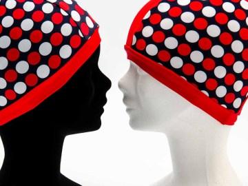 Bonnet de Bain à pois rouge et blanc