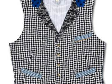 Gilet de costume tissus pied-de-poule noir et blanc vue de face