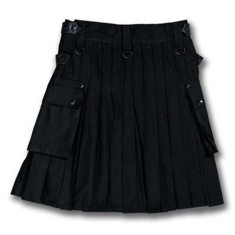 Kilt en toile de coton noir-dos