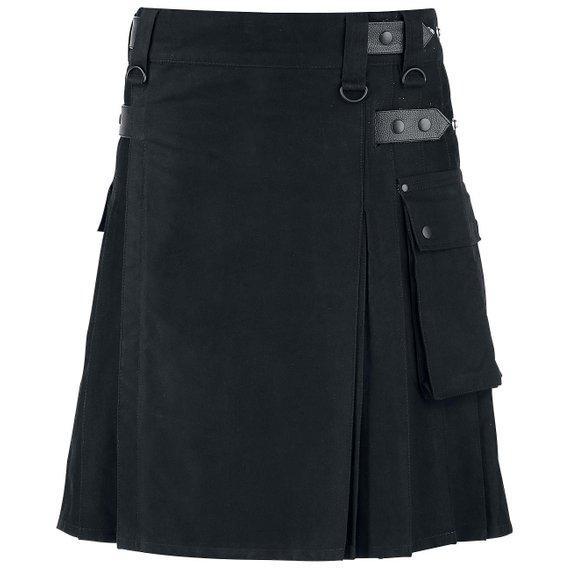 Kilt noir en toile de coton