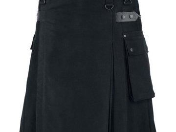 Kilt de travail en toile de coton noire