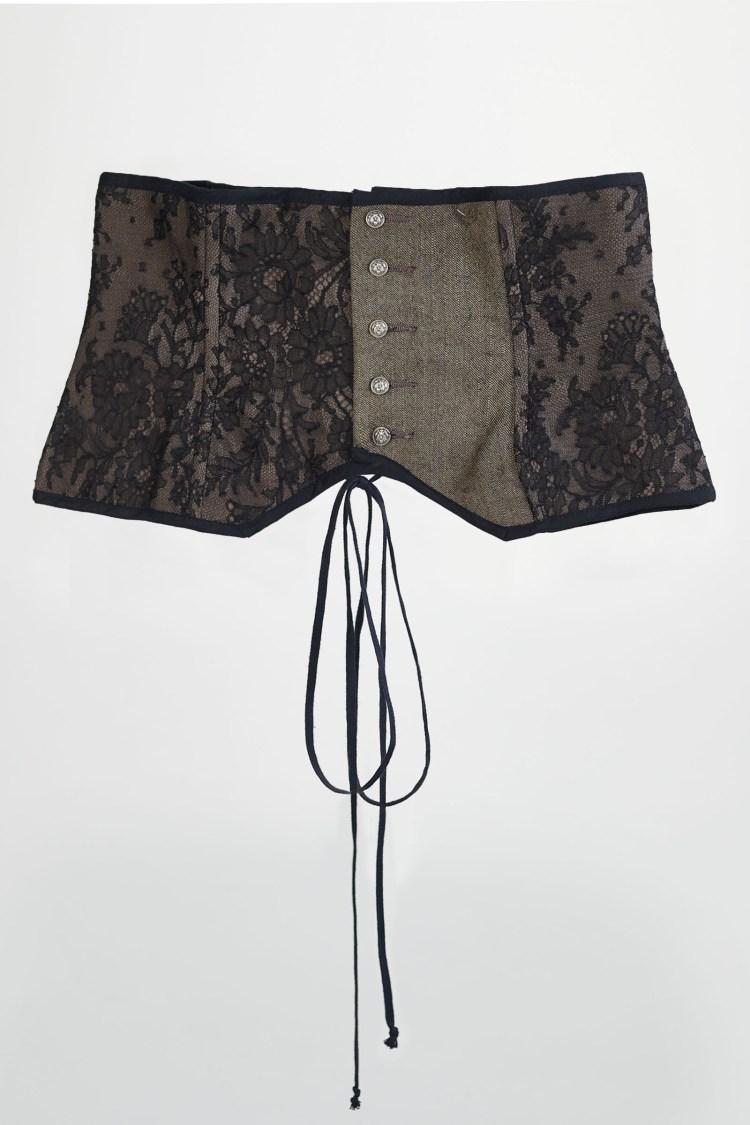 corset noir lin et dentelle chantilly