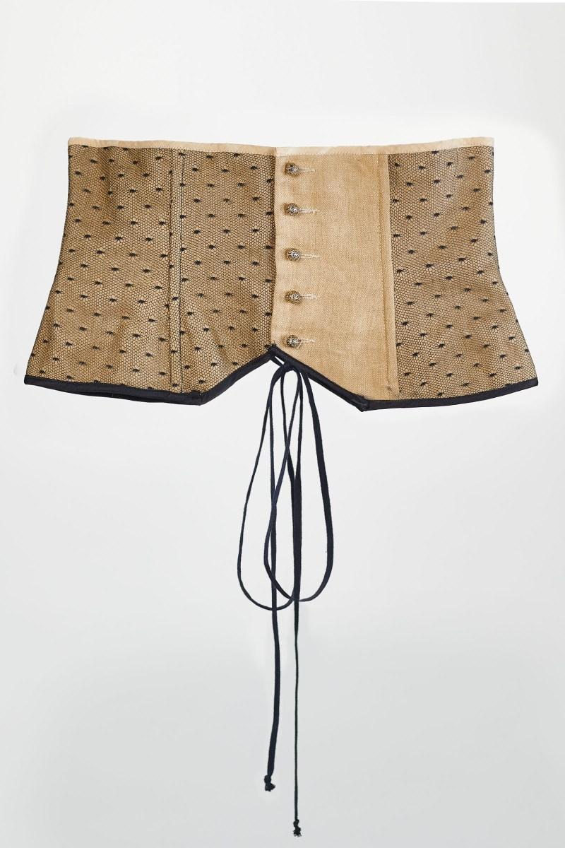 corset serre taille doré en lin et plumetis