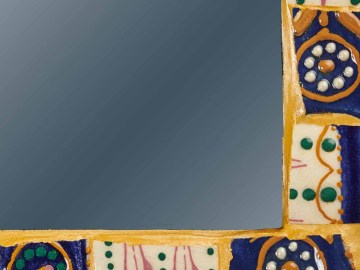 Miroir Henriot jaune et bleu marine